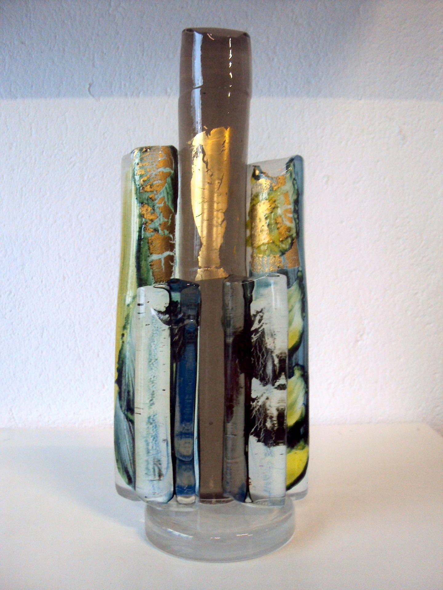 Sculpture en cristal et feuilles d'or