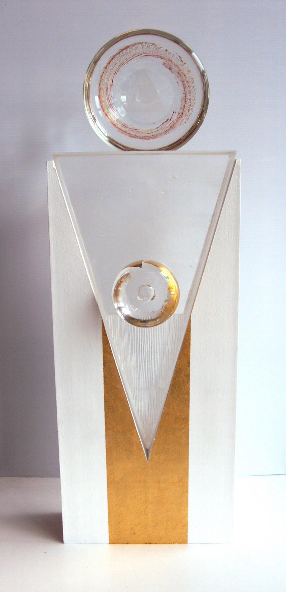 Sculpture Cristal Optique,Or, verre soufflé