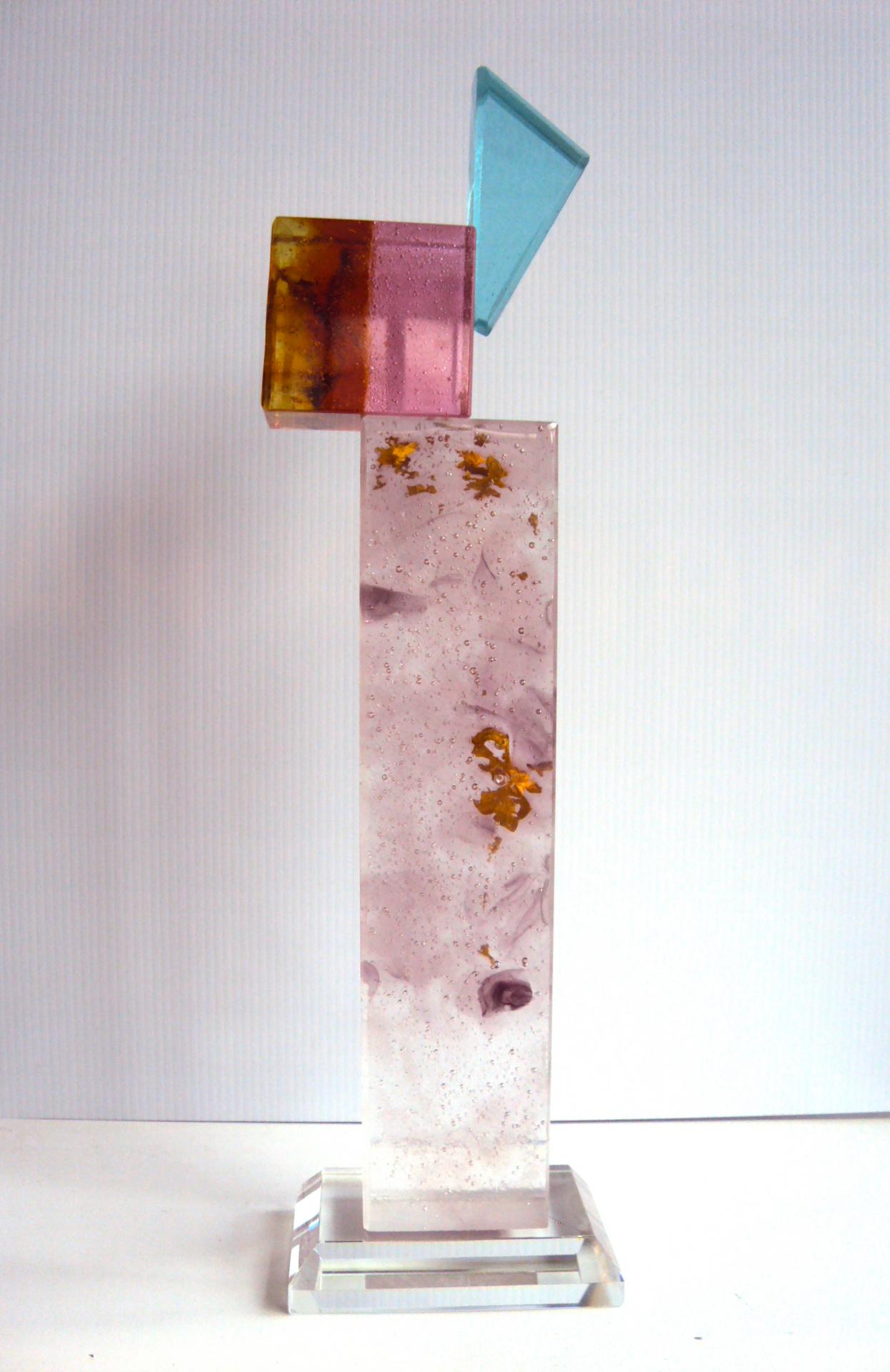 Sculpture en Cristal sur socle cristal taillé et polis